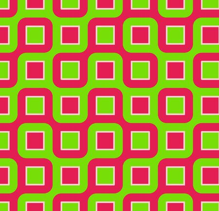 Retro abstract of rounded squares in hot pink and lime green  Foto de archivo