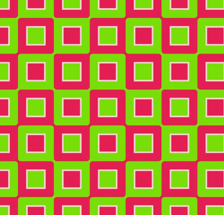 Retro abstract of rounded squares in hot pink and lime green