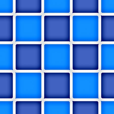 Retro abstract of rounded squares in different hues of blue with white borders Imagens