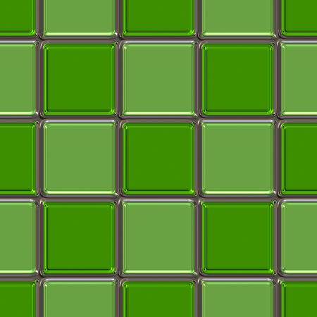Metallic rounded tile squares in different hues of green