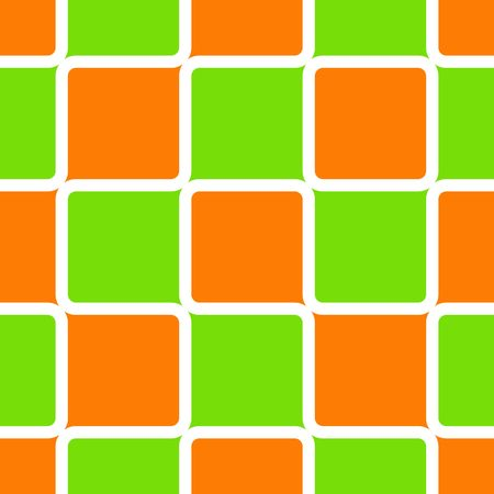 Retro abstract of rounded squares in lime green and orange with white borders photo