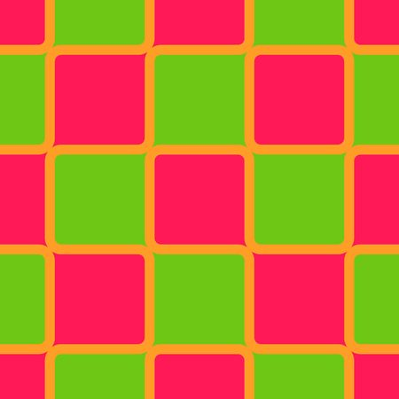 Retro abstract of rounded squares in pink and green with orange borders photo