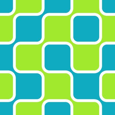 空の青とライム グリーンの丸みを帯びた正方形のレトロな抽象