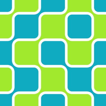 rounded: Retro abstract of rounded squares in sky blue and lime green