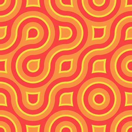 Retro abstract of rounded squares in melon, orange and sunny yellow