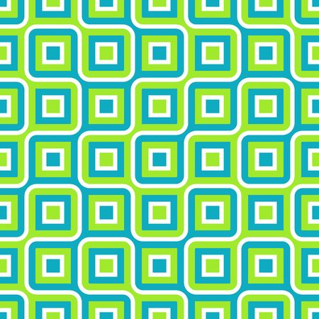 Retro abstract of rounded squares in blue, green and white