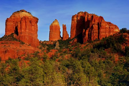 sedona: Cathedral Rock lit by the setting sun, Sedona, Arizona Stock Photo