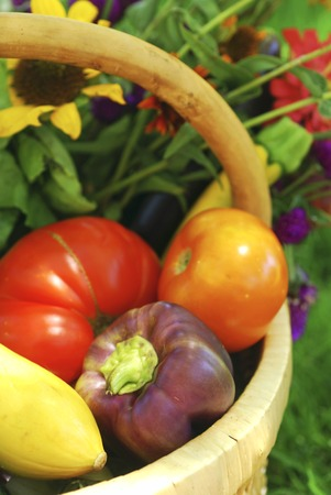 bounty: Cesta de mimbre llena de frutas, verduras y flores frescas desde el jardín