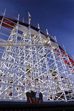 The Big Dipper rolle rcoaster shortly before sunset on the Santa Cruz Boardwalk in California photo