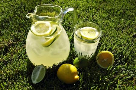 投手と午後の日差しに照らされた草で冷たいレモネードを氷のグラス