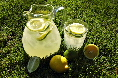 Pitcher and glass of ice cold lemonade on grass lit by afternoon sunlight