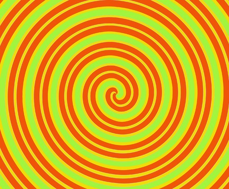 spin: Dizzying spiralling lines in orange, lime green, yellow