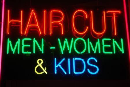 barber shop: Illuminated Hair Cut Men - Women & Kids neon sign