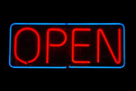 Illuminated open neon sign on black background Stock Photo - 2090284