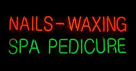 Illuminated nails, waxing, spa, pedicure neon sign Stock Photo - 2090282