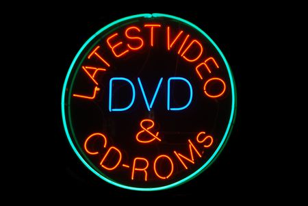 Latest Video, DVD, & CD-ROMS neon sign on black