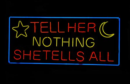 Psychics Tell Her Nothing - She Tells All neon sign Stock Photo