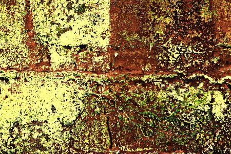 paint chipping: Deteriorating painted brick wall stylized with grunge effects  Stock Photo