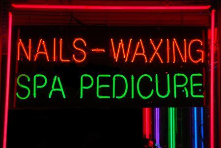 beauty shop: Illuminated nails, waxing, spa, pedicure neon sign