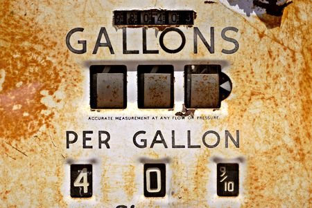 deteriorate: Closeup of a rusty old gas pump from the 1940s