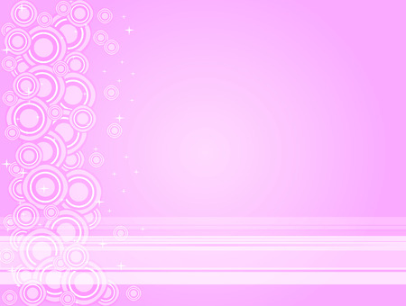 Vector illustrated background of pink and white lines, circles and stars