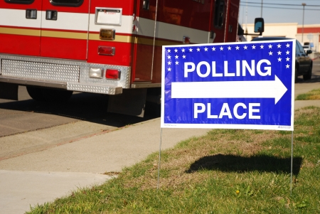 Polling place sign outside of a fire station