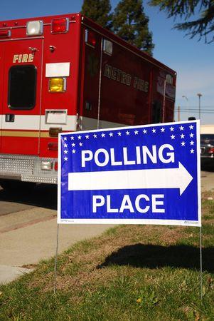 encuestando: Lugar de votaci�n fuera de signo de una estaci�n de bomberos