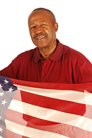 アフリカ系アメリカ人戦争のベテランがアメリカ国旗 写真素材
