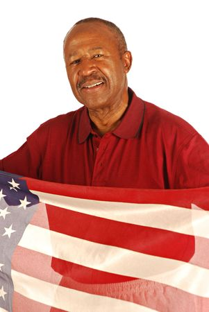 war and military: African American war veteran holding an American flag