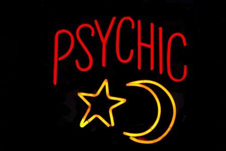 psiquico: Ps�quico signo de ne�n con la luna y las estrellas  Foto de archivo