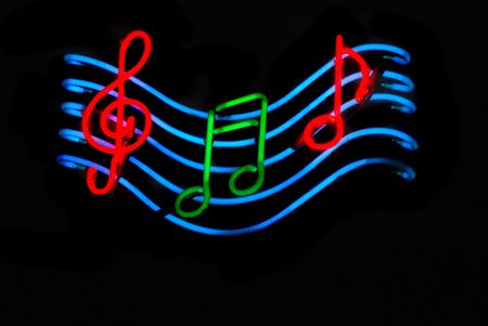 cleft: Neon sign with musical notes Stock Photo