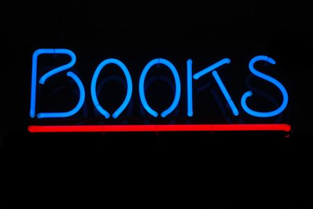 Neon sign advertising books for sale Stock Photo - 2626645