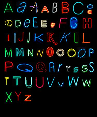 Variety of alphabet letters collected from neon signs. It took me two years of shooting neon signs to find all of the letters of the alphabet.