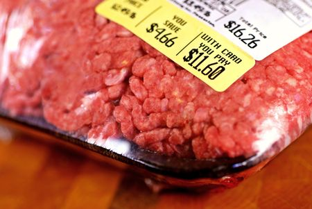 Price tag on a large package of raw hamburger