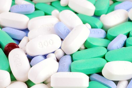 combination: Large combination of medications and vitamins