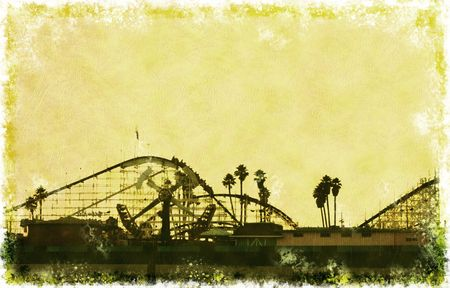 amusement: Big Dipper roller coaster at sunset at the Santa Cruz Boardwalk in California in grunge style