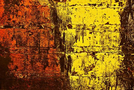 Deteriorating painted brick wall stylized with grunge effects (part of a photo illustration series) illustration