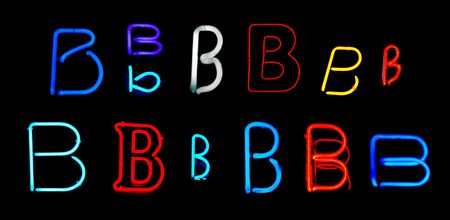 Neon letters B collected from neon signs for design elements photo