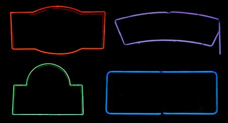 Borders and boxes from neon signs for design elements photo