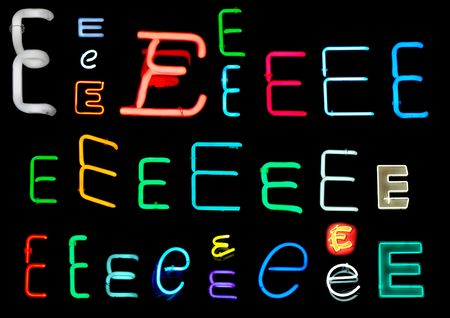 Neon letters E collected from neon signs for design elements photo