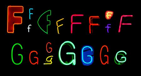 Neon letters F and G collected from neon signs for design elements Stock Photo - 2772352