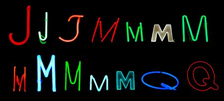 Neon letters J, M, and Q collected from neon signs for design elements Stock Photo - 2772351