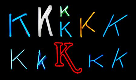 Neon letters K collected from neon signs for design elements Stock Photo - 2772348