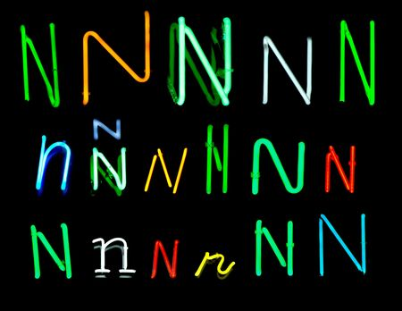 design: Neon letters N collected from neon signs for design elements