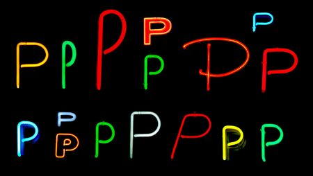 Neon letters P collected from neon signs for design elements Stock Photo - 2772349
