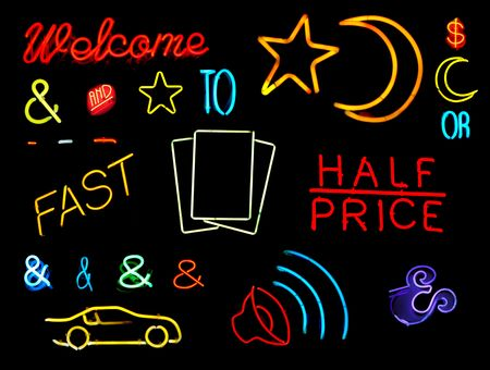 Symbols and words from neon signs for design elements photo