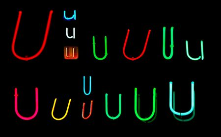 Neon letters U collected from neon signs for design elements Stock Photo - 2772344