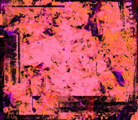spattered: Pink orange purple black red grunge background Stock Photo