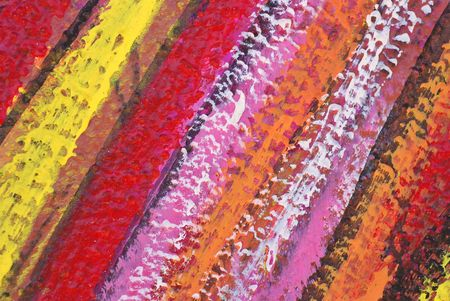 Rayas pintadas en rojo, rosa, amarillo, naranja estuco sobre la pared Foto de archivo - 3084573