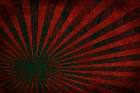Grungy burst of rays on an old red leather texture